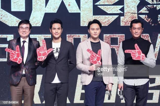 Actors Raymond Wong Pakming Kevin Cheng Kawing Julian Cheung Chilam and Louis Koo Tinlok attend the premiere of director David Lam Takluk's film 'L...