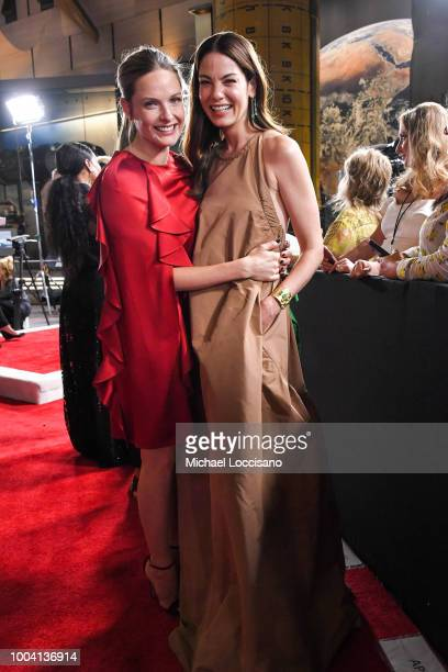 Actors Rebecca Ferguson and Michelle Monaghan attend the 'Mission Impossible Fallout' US Premiere at Lockheed Martin IMAX Theater at the Smithsonian...