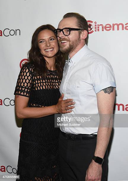 Actors Rebecca Ferguson and Simon Pegg attend The State of the Industry Past Present and Future and Paramount Pictures Presentation at The Colosseum...