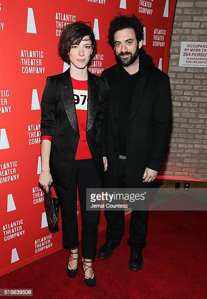 Actors Rebecca Hall and Morgan Spector attend the Hold On To Me Darling opening night after party at The Gallery at The Dream Downtown Hotel on March...