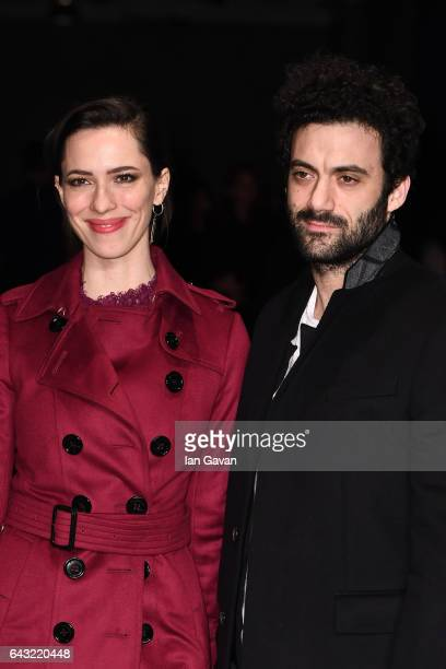 Actors Rebecca Hall and Morgan Spector wearing Burberry attend the Burberry February 2017 Show during London Fashion Week February 2017 at Makers...