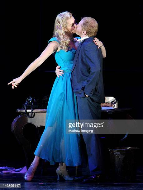 Actors Rebecca Romijn and Jesse Tyler Ferguson perform at the Hollywood Bowl Presents The Producers A New Mel Brooks Musical at the Hollywood Bowl on...