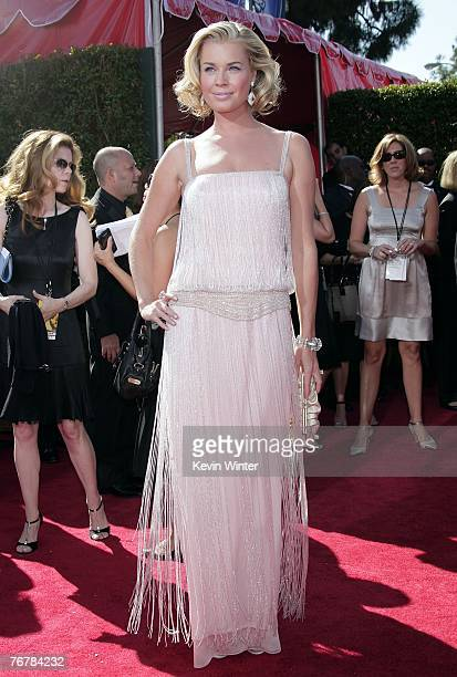 Actors Rebecca Romijn arrives at the 59th Annual Primetime Emmy Awards at the Shrine Auditorium on September 16 2007 in Los Angeles California