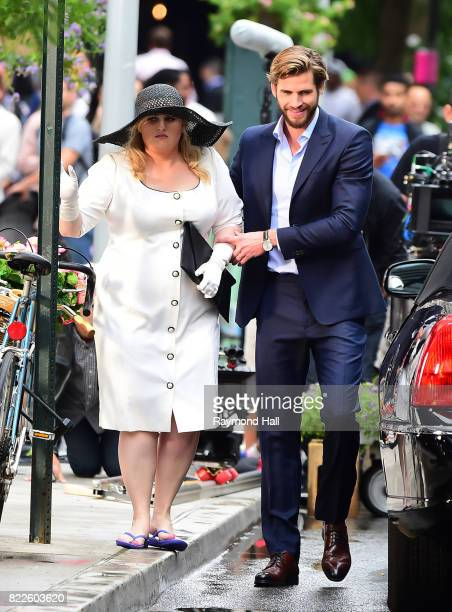 Actors Rebel Wilson and Liam Hemsworth are seen on the set of 'Isn't It Romantic' on July 25 2017 in New York City