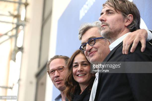 Actors Reda Kateb Sophie Semin director Wim Wenders and actor Jens Harzer attend a photocall for 'Les Beaux Jours D'Aranjuez' during the 73rd Venice...