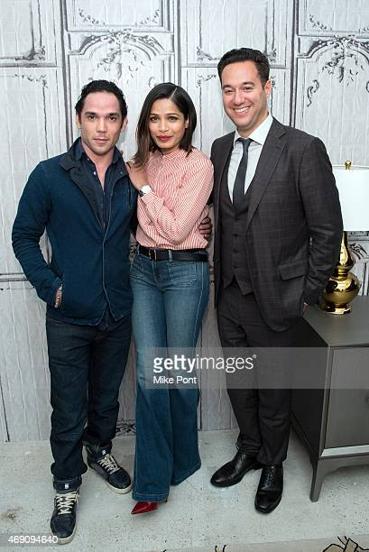 Actors Reece Ritchie and Freida Pinto and Director Richard Raymond attend the AOL BUILD Speaker Series The Cast Of 'Desert Dancer' at AOL Studios In...