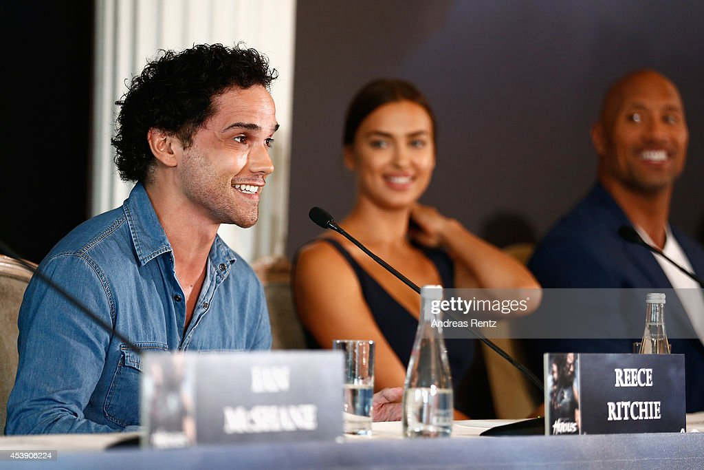 Actors Reece Ritchie and Irina Shayk attend the press conference of Paramount Pictures 'HERCULES' at Hotel Adlon on August 21, 2014 in Berlin, Germany.