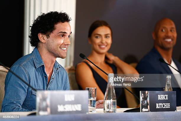 Actors Reece Ritchie and Irina Shayk attend the press conference of Paramount Pictures 'HERCULES' at Hotel Adlon on August 21 2014 in Berlin Germany