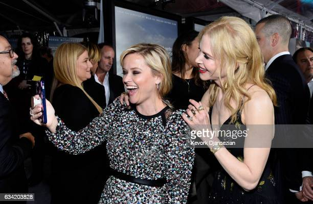 Actors Reese Witherspoon and Nicole Kidman attend the premiere of HBO's 'Big Little Lies' at TCL Chinese Theatre on February 7 2017 in Hollywood...