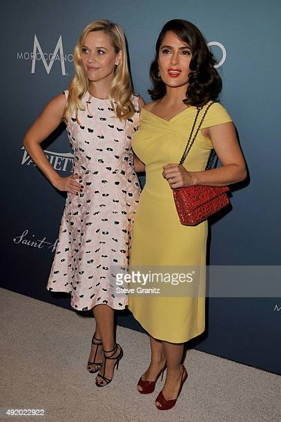 Actors Reese Witherspoon and Salma Hayek Pinault attend Variety's Power Of Women Luncheon at the Beverly Wilshire Four Seasons Hotel on October 9,...