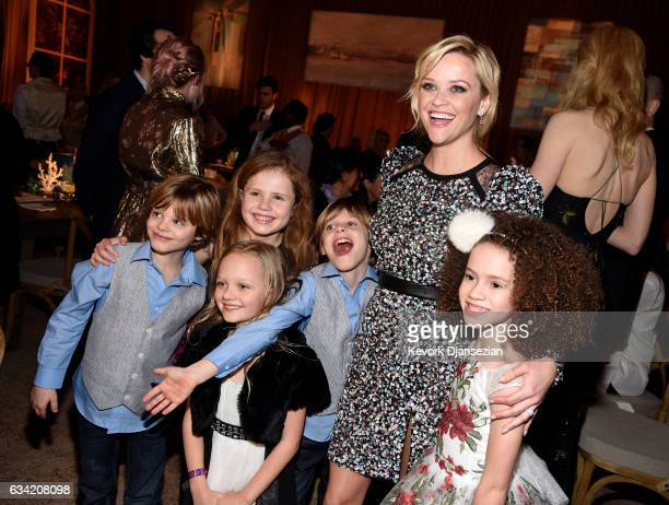 Actors Reese Witherspoon Cameron Crovetti Darby Camp Ivy George Nicholas Crovetti Chloe Coleman attend the after party of HBO's 'Big Little Lies' at...