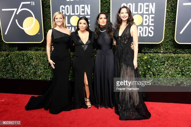 Actors Reese Witherspoon, Eva Longoria, Salma Hayek, and Ashley Judd attend The 75th Annual Golden Globe Awards at The Beverly Hilton Hotel on...