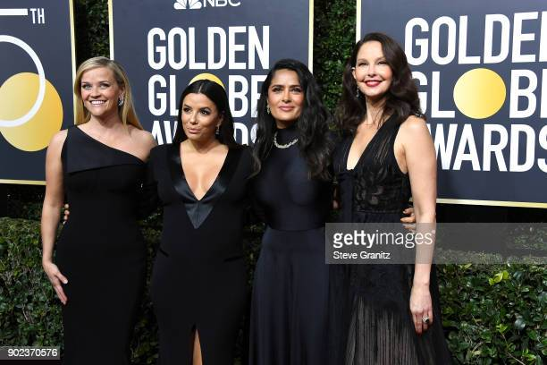 Actors Reese Witherspoon Eva Longoria Salma Hayek and Ashley Judd attend The 75th Annual Golden Globe Awards at The Beverly Hilton Hotel on January 7...