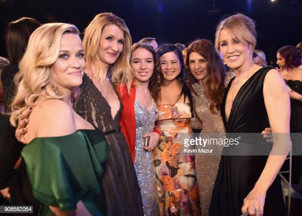 Actors Reese Witherspoon Laura Dern Jaya Harper Kelly Marie Tran Marisa Tomei and Felicity Huffman pose during the 24th Annual Screen Actors Guild...