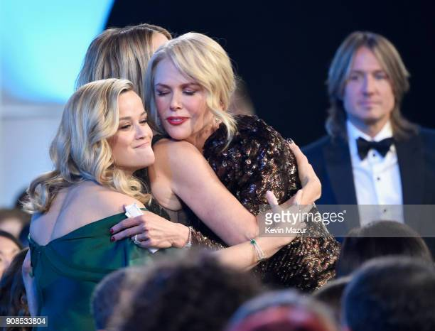 Actors Reese Witherspoon Laura Dern Nicole Kidman and singer Keith Urban onstage during the 24th Annual Screen Actors Guild Awards at The Shrine...