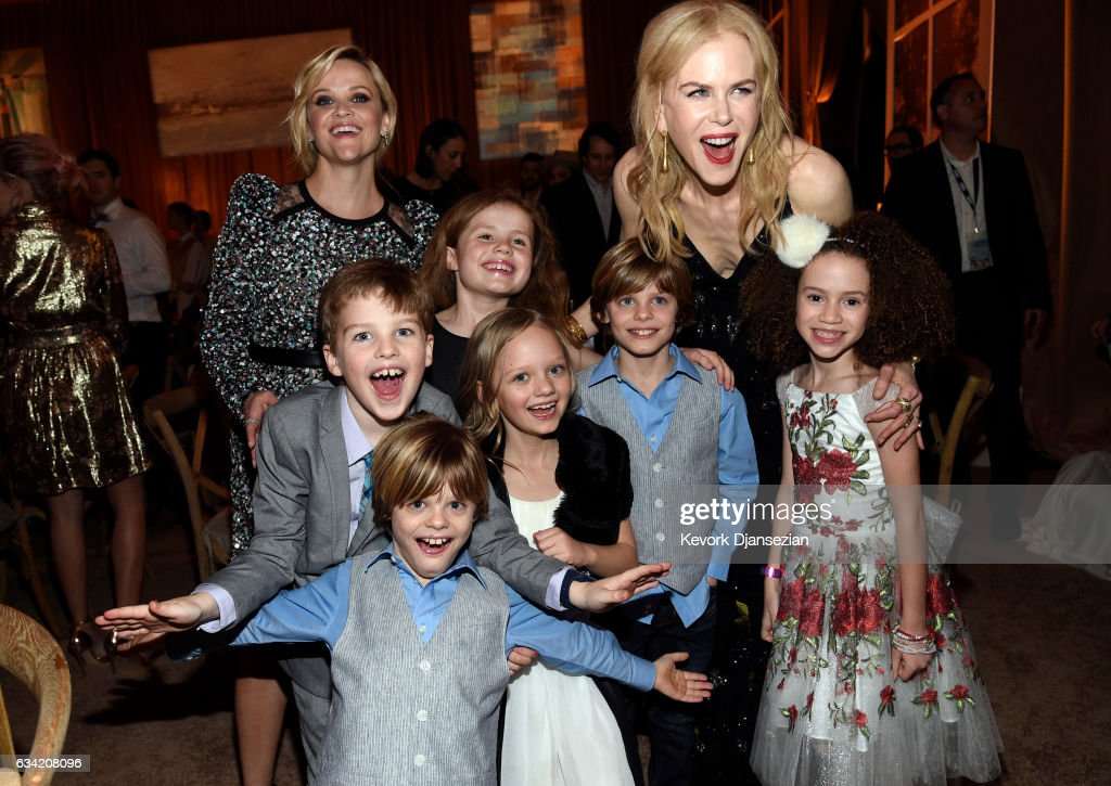 Actors Reese Witherspoon, Nicole Kidman, Ian Armitage, Darby Camp, Ivy George, Cameron Crovetti, Nicholas Crovetti, Chloe Coleman attend the after party of HBO's 'Big Little Lies' at TCL Chinese Theatre on February 7, 2017 in Hollywood, California. (