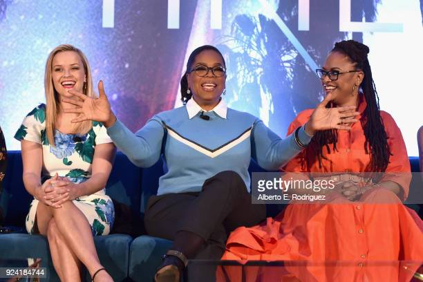 Actors Reese Witherspoon Oprah Winfrey and Director Ava DuVernay participate in the press conference for Disney's 'A Wrinkle in Time' in Hollywood CA...