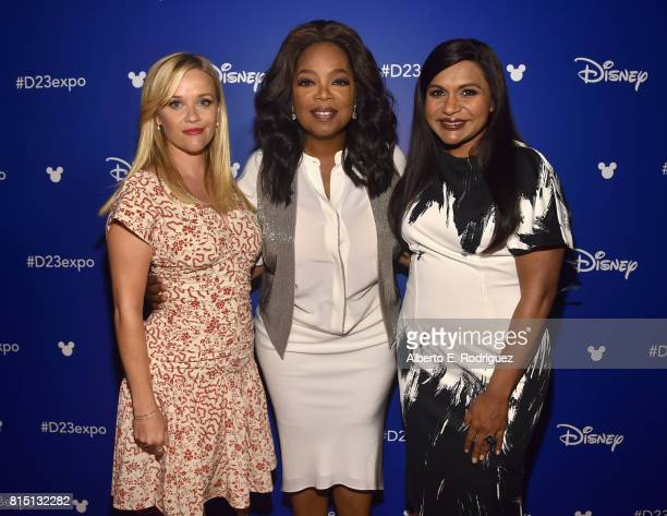 Actors Reese Witherspoon Oprah Winfrey and Mindy Kaling of A WRINKLE IN TIME took part today in the Walt Disney Studios live action presentation at...