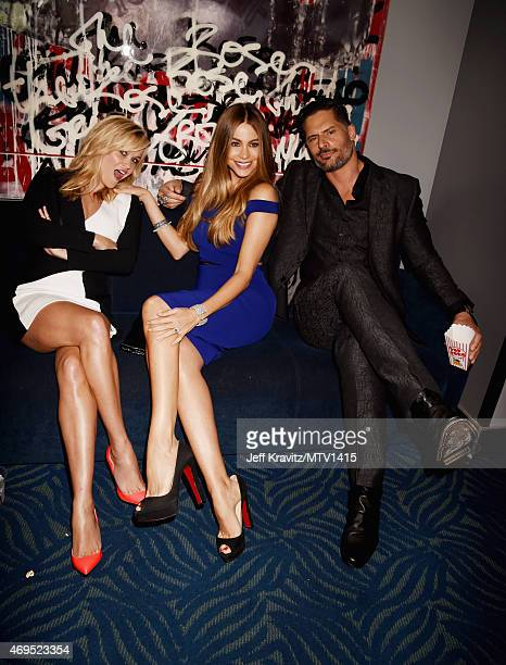 Actors Reese Witherspoon Sofia Vergara and Joe Manganiello attend The 2015 MTV Movie Awards at Nokia Theatre LA Live on April 12 2015 in Los Angeles...