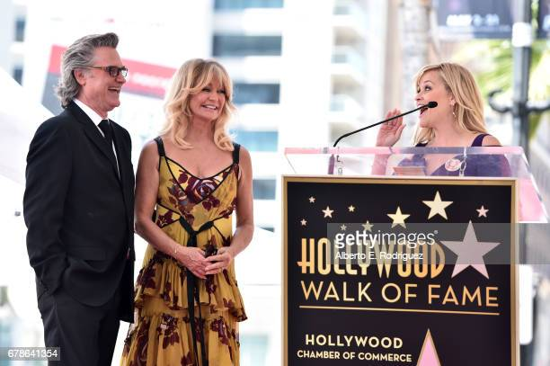 Actors Reese Witherspoon speaks onstage as Kurt Russell and Goldie Hawn are honored with a double star ceremony on the Hollywood Walk of Fame on May...
