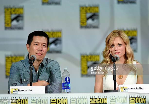 Actors Reggie Lee and Claire Coffee attend the 'Grimm' season four panel during ComicCon International 2014 at the San Diego Convention Center on...