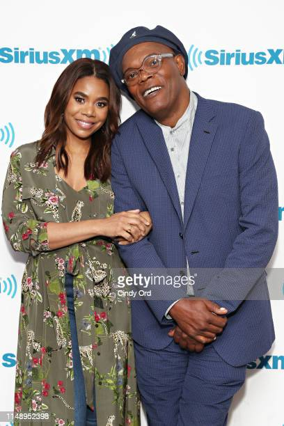 Actors Regina Hall and Samuel L Jackson and Luna Lauren Velez take part in SiriusXM's Town Hall with the cast of 'Shaft' hosted by Sway Calloway at...