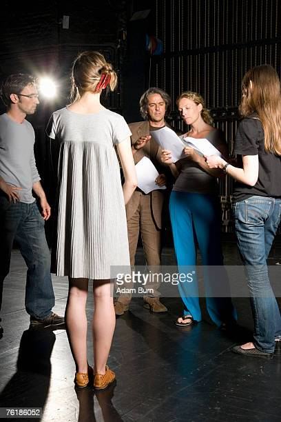 actors rehearsing in a theater - actor stock pictures, royalty-free photos & images