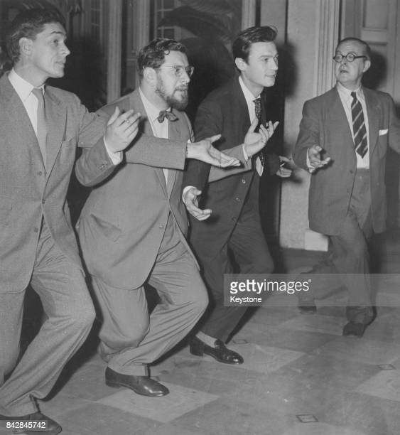 Actors rehearsing their curtsey for the 'Night of 100 Stars' midnight charity gala in aid of the Actors' Orphanage at the Lyric Theatre London 23rd...