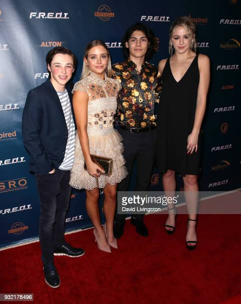 Actors Reid Miller Casimere Jollette Lucius Hoyos and Chloe Lukasiak attend a screening of Inspired Family Entertainment's 'FREDI' at Landmark...