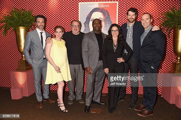 Actors Reid Scott Anna Chlumsky Kevin Dunn Sam Richardson Julia LouisDreyfus Timothy Simons and Tony Hale attend the 'VEEP' FYC panel at Paramount...