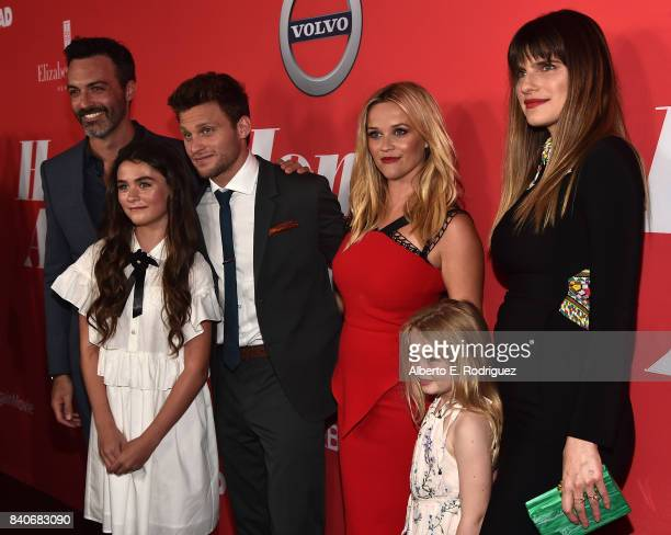 Actors Reid Scott Lola Flanery Jon Rudnitsky Reese Witherspoon Eden Grace Redfield and Lake Bell attend the premiere of Open Road Films' 'Home Again'...