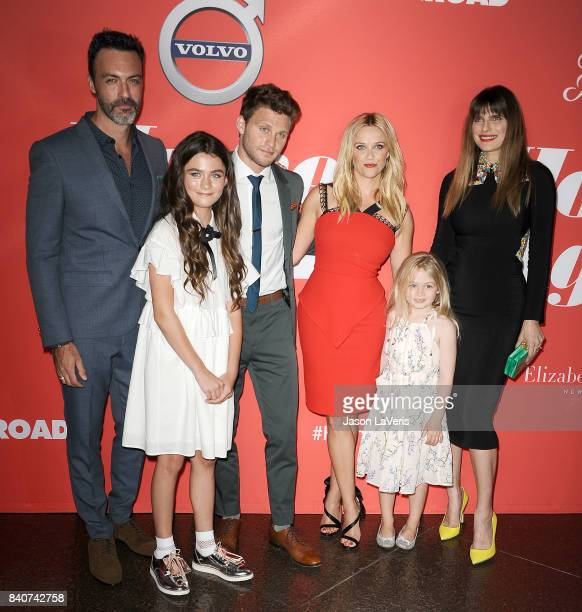 Actors Reid Scott Lola Flanery Jon Rudnitsky Reese Witherspoon Eden Grace Redfield and Lake Bell attend the premiere of 'Home Again' at Directors...