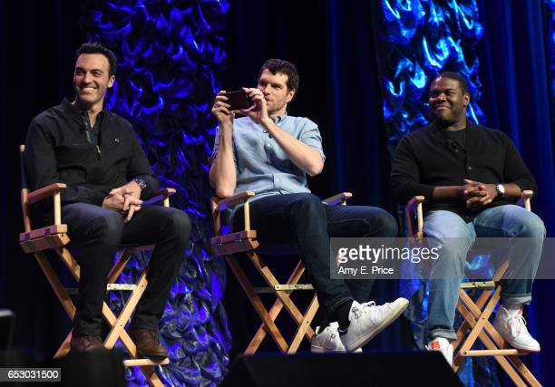 Actors Reid Scott Timothy Simons and Sam Richardson speak onstage at 'Featured Session VEEP Cast' during 2017 SXSW Conference and Festivals at Austin...
