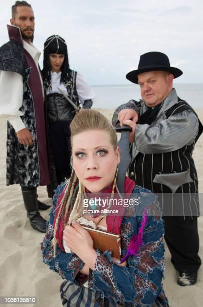 Actors Reiko Roelz, Lisa Lasch, Anna Jamborsky and Erwin Broederbauer rehearsing a scene of this year's theatre play 'Vineta - Die Stadt der Diebe'...