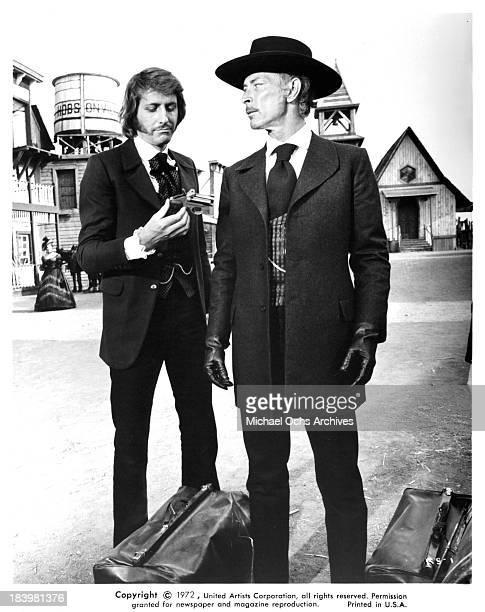 "Actors Reiner Schone and Lee Van Cleef on set of the United Artists movie ""The Return of Sabata"" in 1971."