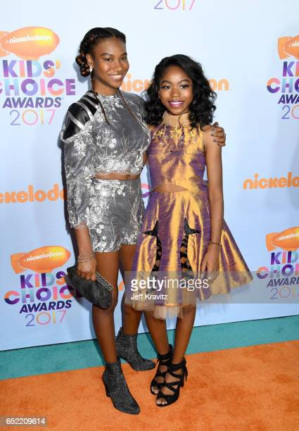 Actors Reiya Downs and Riele Downs at Nickelodeon's 2017 Kids' Choice Awards at USC Galen Center on March 11 2017 in Los Angeles California