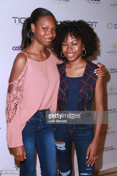 Actors Reiya Downs and Riele Downs attends the 3rd Annual Ariza Elevated Celebrity Charity Basketball Game on July 8 2017 in Woodland Hills California
