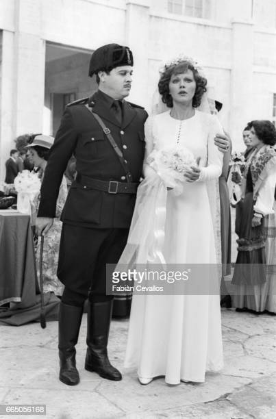 Actors Renato Pozzetto and Agostina Belli appear in a wedding scene from the 1976 Italian film Telefoni Bianchi The movie written and directed by...