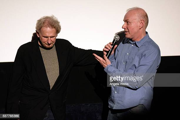 Actors Rene Auberjonois and Ken Marks speak onstage at the premiere of 'Blood Stripe' during the 2016 Los Angeles Film Festival at Arclight Cinemas...