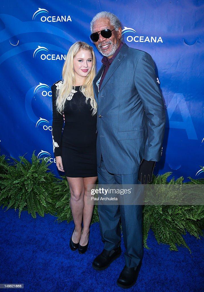 Actors Renee Olstead (L) and Morgan Freeman (R) attend the 2012 Oceana's SeaChange summer party on July 29, 2012 in Laguna Beach, California.