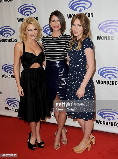Actors Renee Olstead Shelley Hennig and Courtney Halverson attends day 2 of WonderCon Anaheim 2015 held at Anaheim Convention Center on April 4 2015...