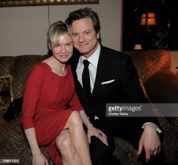 Actors Renee Zellweger and Colin Firth attend the Audi Weinstein Company Party sponsored by Godiva Chocolate Vodka at the Chateau Marmont on February...