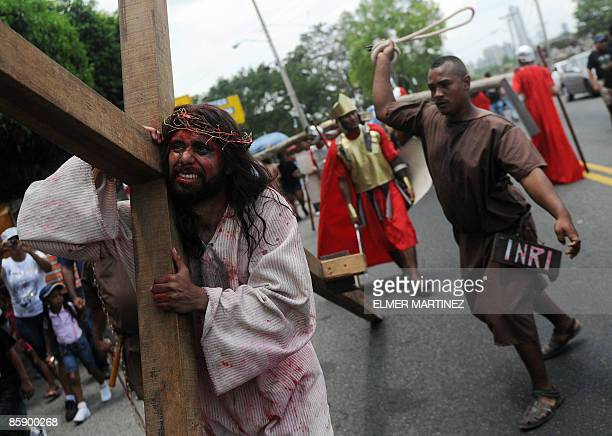 Actors represent the Via Crucis procession as part of Good Friday ceremonies on April 10 2009 in Old Panama in the outskirts of Panama City The Holy...