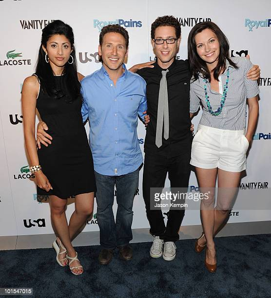 Actors Reshma Shetty Mark Feuerstein Paulo Costanzo and Jill Flint attend the USA Network and Vanity Fair ROYAL PAINS Season Two Kick Off Event at...