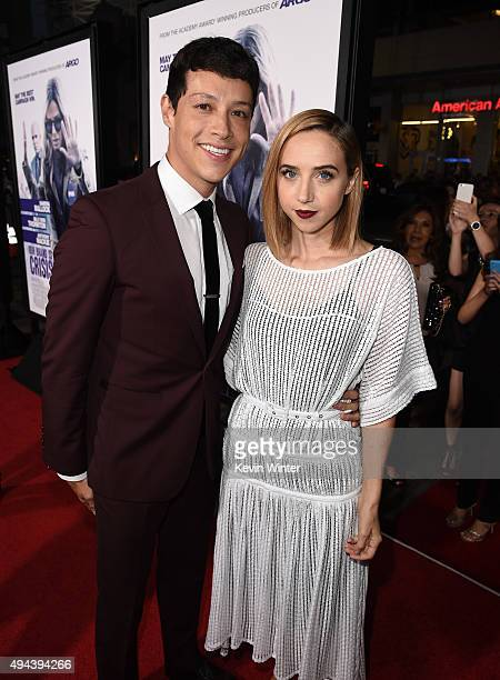 Actors Reynaldo Pacheco and Zoe Kazan attend the premiere of Warner Bros Pictures' Our Brand Is Crisis at TCL Chinese Theatre on October 26 2015 in...