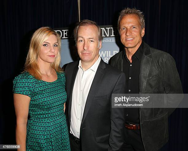 Actors Rhea Seehorn, Bob Odenkirk, and Patrick Fabian attend Deadline Hollywood's 2015 Emmy party at The Spare Room on June 9, 2015 in Hollywood,...