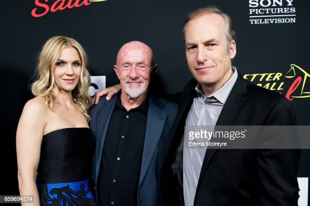 Actors Rhea Seehorn Jonathan Banks and Bob Odenkirk attend AMC's 'Better Call Saul' season 3 premiere at Arclight Cinemas Culver City on March 28...