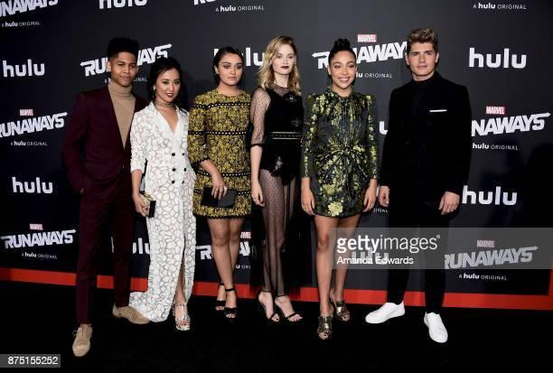 Actors Rhenzy Feliz Lyrica Okano Ariela Barer Virginia Gardner Allegra Acosta and Gregg Sulkin arrive at the premiere of Hulu's Marvel's Runaways at...