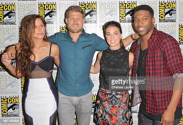 Actors Rhona Mitra Travis Van Winkle Marissa Neitling and Jocko Sims attend TNT's 'The Last Ship' Press Room during ComicCon International on July 9...