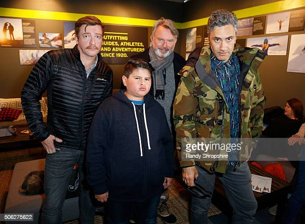 Actors Rhys Darby Julian Dennison Sam Neill and writer/director Taika Waititi attend the Eddie Bauer Adventure House during the 2016 Sundance Film...